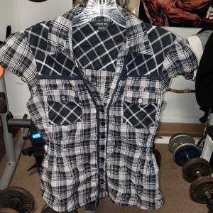 Paper tee dark plaid button up blouse